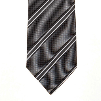 Hugo Boss tie grey and white striped silk tie 50185644. BOSS0273
