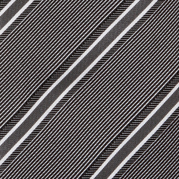 Hugo Boss tie grey and white striped silk tie 50185644. BOSS0273