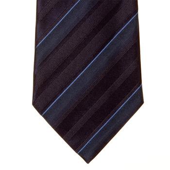 Giorgio Armani Tie navy striped silk tie 219W332. SKU-GAM1180