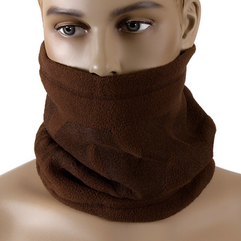 RMC Jeans Brown Fleece Reversible Neck Warmer Snood with Tsunami Wave Embroidery REDM5501