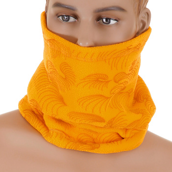 RMC Jeans Yellow Fleece Reversible Neck Warmer Snood with Tsunami Wave Embroidery REDM5503
