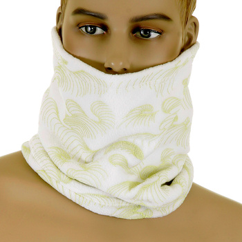 RMC Jeans Off White Fleece Reversible Neck Warmer Snood with Tsunami Wave Embroidery REDM5482