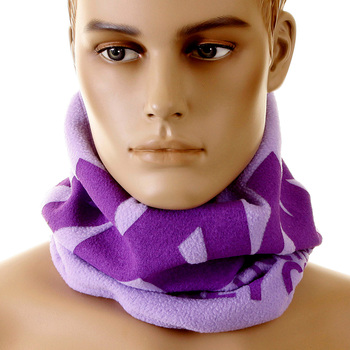 RMC Jeans Tsunami Wave Embroidered Light Lilac Purple Neck Warmer Snood Scarf with Toggle and Pull Cord REDM5509
