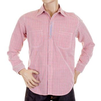 Yoropiko Long Sleeve Red Check Soft Collar Regular Fit Cotton Shirt YORO5299