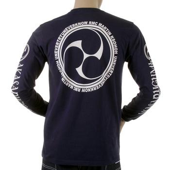 RMC Jeans Akasarugumi Fuijin Printed Mens Crew Neck Long Sleeve Regular Fit T-shirt in Navy REDM5411