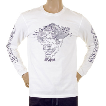 RMC Jeans Mens Regular Fit Long Sleeve Crew Neck Akasarugumi Fuijin Printed T-shirt in White REDM5413