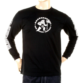 RMC Jeans MKWS Akasarugumi Kintaro Printed Long Sleeve Regular Fit Crew Neck T-Shirt in Black REDM5420