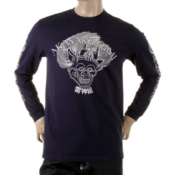 RMC Jeans Crew Neck Long Sleeve Raijin Printed Akasarugumi Regular Fit Crew Neck T-shirt in Red REDM5406