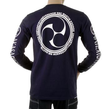 RMC Jeans Cotton Navy Regular Fit Crew Neck Long Sleeve T-shirt with Akasarugumi Raijin Print REDM5406
