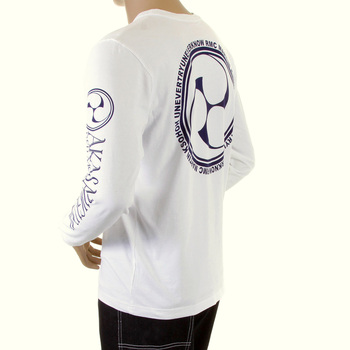 RMC Jeans Regular Fit Akasarugumi Raijin Printed Long Sleeve Crew Neck T-shirt in White REDM5408