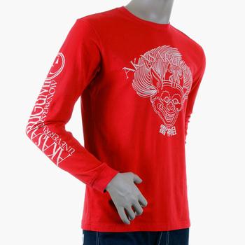 RMC Jeans Cotton Akasarugumi Long Sleeve Red Regular Fit Crew Neck T-shirt with Raijin Print REDM5407
