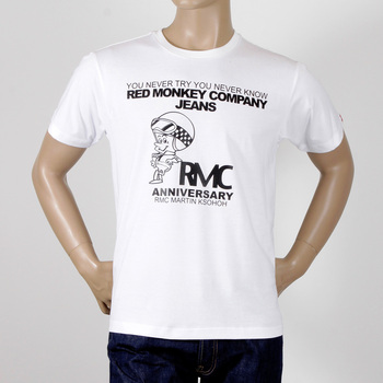 RMC Jeans Crew Neck 8th Anniversary Scooter Short Sleeve Regular Fit White T-shirt REDM2707