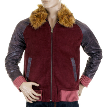 RMC Jeans Super Exclusive Claret Cord and Plather Jacket with Corded Body Variegated Sleeves REDM5322