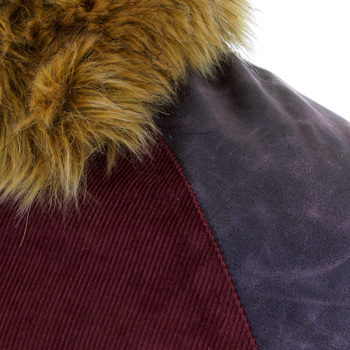 RMC Jeans Claret Cord and Plather Jacket with Corded Body Variegated Sleeves and Fur Collar REDM5322