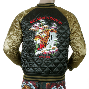 RMC Jeans Fully Reversible Tiger Embroidered Super Exclusive Silk Quilted Jacket in Black and Gold REDM5662