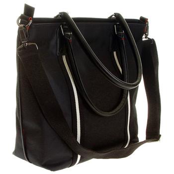 RMC Jeans Detachable Canvas Shoulder Strapped Unisex Black Nylon Shopper Bag with Leather Base REDM5530