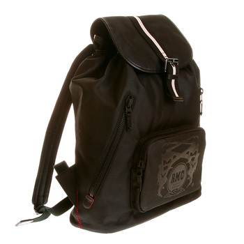 RMC Jeans Nylon Unisex Fully Lined Black Backpack with Leather Trim and Base REDM5532