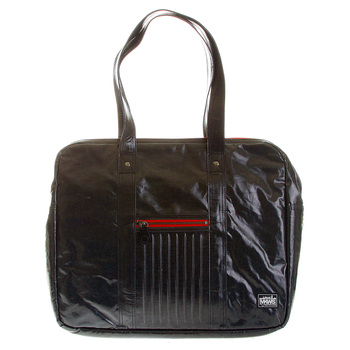 RMC MKWS Unisex Black Coated Denim Hand Carry Bag with Laminated Tartan Lining REDM5537