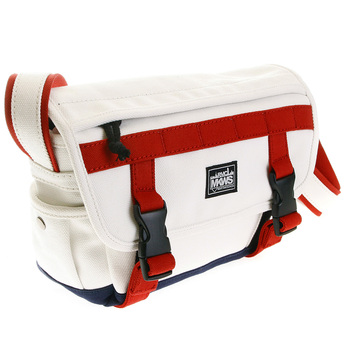 RMC MKWS Unisex Cotton Canvas Shoulder Bag in White with Red and Navy Canvas Trims REDM5576