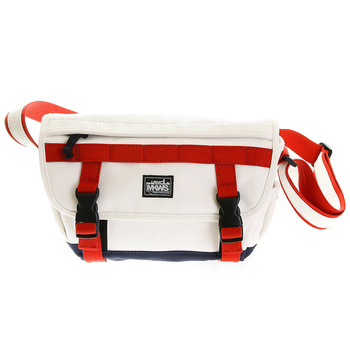 RMC MKWS Unisex White 100% Cotton Canvas Shoulder Bag with Red and Navy Canvas Trims REDM5576