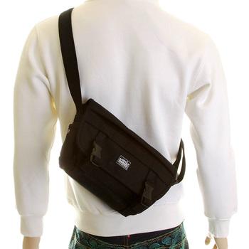 RMC MKWS Unisex Black Canvas Shoulder Bag with Velcro and Clip Flap Closure REDM5577
