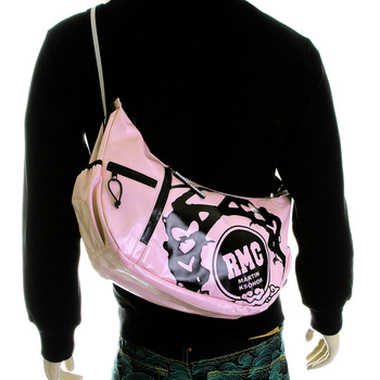 RMC Jeans Laminated Canvas Fashion Cyclist Unisex Shoulder Bag in Light Pink REDM5575