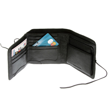 RMC Jeans Black Leather Coin Pouch and Credit Card 3 Fold Landscape Wallet for Men REDM5736