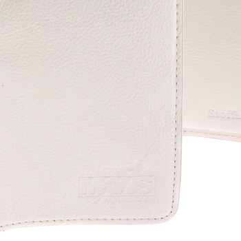 RMC Jeans Mens Leather 3 Fold Credit Card and Coin Pouch Portrait Wallet in White REDM5748