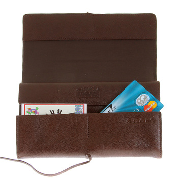 RMC Jeans Unisex Grain Leather Travel Wallet in Brown with Shoe Lace Tie Closure REDM5751