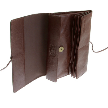 RMC Jeans Unisex Brown Grain Leather Travel Wallet with Shoe Lace Tie Closure REDM5751