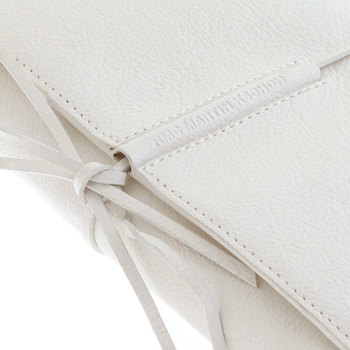 RMC Jeans White Grain Leather Unisex Travel Wallet with Shoe Lace Tie Closure REDM5754
