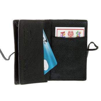 RMC Jeans Black Leather Horse Hair Card Holder Wallet with Shoe Lace Tie Closure for Men REDM5761