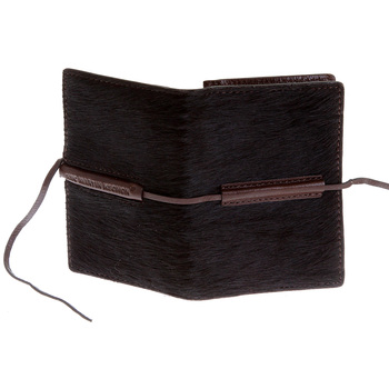 RMC Jeans Brown Leather Horse Hair Card Holder with Shoe Lace Tie Closure REDM5762