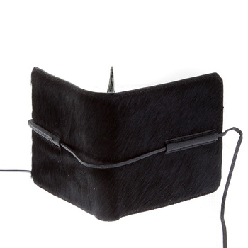RMC Jeans Mens Leather Horse Hair Wallet in Black with Shoe Lace Tie Closure REDM5767