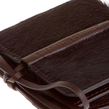 RMC Jeans Italian Brown Leather Shoe Lace Tie Closure Horse Hair Pouch for Men REDM5772
