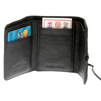 RMC Jeans Mens Black Leather Horse Hair 3 Fold Credit Card Mini Wallet REDM5773