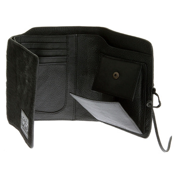 RMC  Black Leather Horse Hair 3 Fold Credit Card & Coin Pouch Portrait Wallet for Men REDM5779