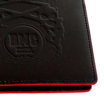 RMC Jeans Black Leather Bill Fold and Credit Card Wallet with Red Leather Trim REDM5514
