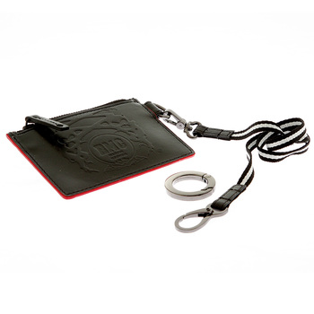 RMC Jeans Mens Black Leather Pouch with Red Leather Trim REDM5516