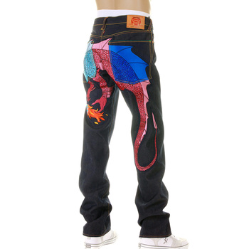 YoropikoRaw Selvedge Denim Jeans with Hungry Dragon 574 Sky Blue Pink Royal Blue Embroidery YORO5415