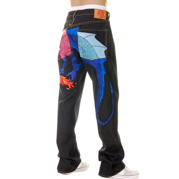 Yoropiko Limited Edition Selvedge Denim Jeans with Hungry Dragon 574 Pink Royal Blue Sky Blue Embroidery YORO5418