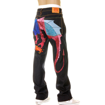 Yoropiko Limited Edition Raw Selvedge Denim Jeans with Hungry Dragon 574 Royal Blue Pink Sky Blue Embroidery YORO5417