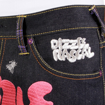 RMC Jeans Vintage Cut Dark Indigo Raw Denim DIZZEE RASCAL Tongue N Cheek Purple Embroidered Jeans REDM5658