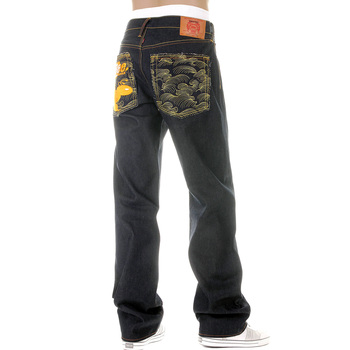 RMC Martin Ksohoh Mens Vintage Cut Dark Indigo Raw Denim Jeans with New Monday Bee Embroidered REDM3979