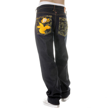 RMC Martin Ksohoh New Monday Bee Embroidered Vintage cut Dark Indigo Raw Denim Jeans for Men REDM3979