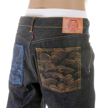 RMC Jeans Vintage Cut House Selvedge Dark Indigo Raw Denim Mad Patch Sky and Buff Embroidered Jeans REDM3140