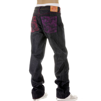 RMC Martin Ksohoh Mad Patch Fuscia and Violet Embroidered Dark Indigo Raw Denim Jeans with Vintage Cut REDM3142