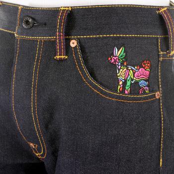 RMC Martin Ksohoh Embroidered Japanese Dolls Dark Indigo Selvedge Raw Denim Jeans with Exclusive Design REDM2892