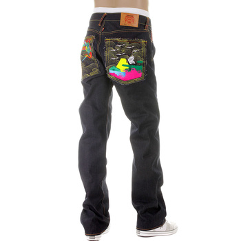 RMC Jeans Super Exclusive Vintage Cut Dark Indigo House Selvedge Denim Crane Go Home Embroidered Jeans REDM2898