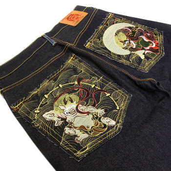 RMC Jeans Super Exclusive Fujin and Raijin Embroidered 09 Indigo Raw Selvedge Vintage Cut Denim Jeans REDM2899